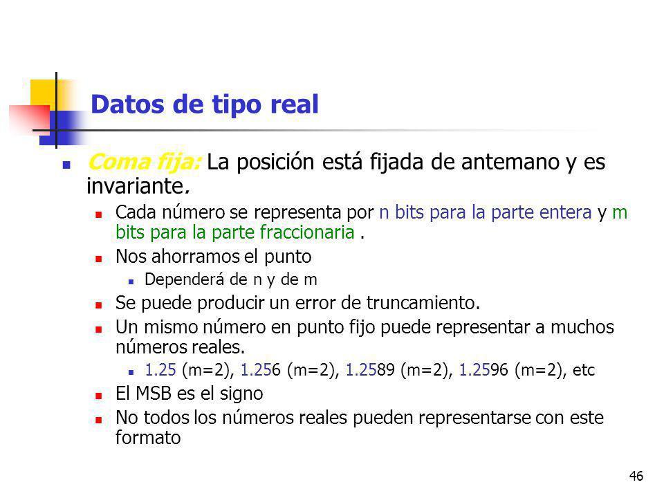 46 Datos de tipo real Coma fija: La posición está fijada de antemano y es invariante.