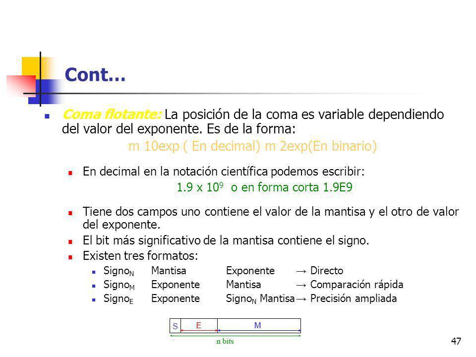 47 Cont… Coma flotante: La posición de la coma es variable dependiendo del valor del exponente.