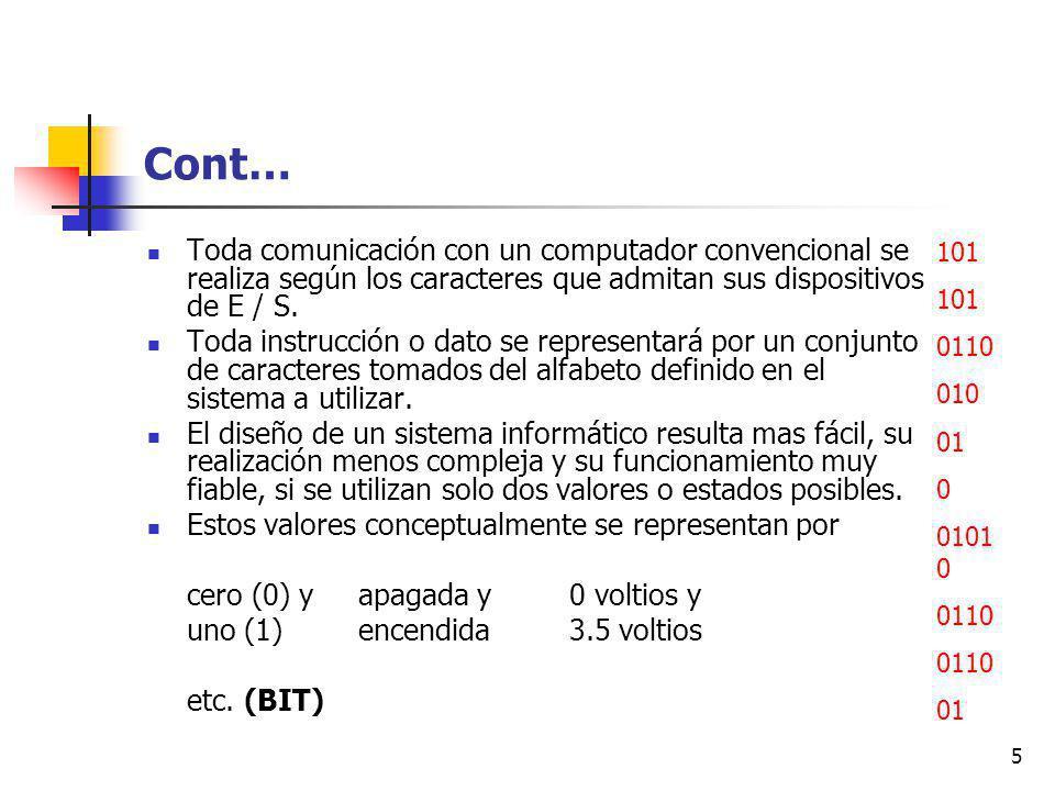 5 Cont… Toda comunicación con un computador convencional se realiza según los caracteres que admitan sus dispositivos de E / S.