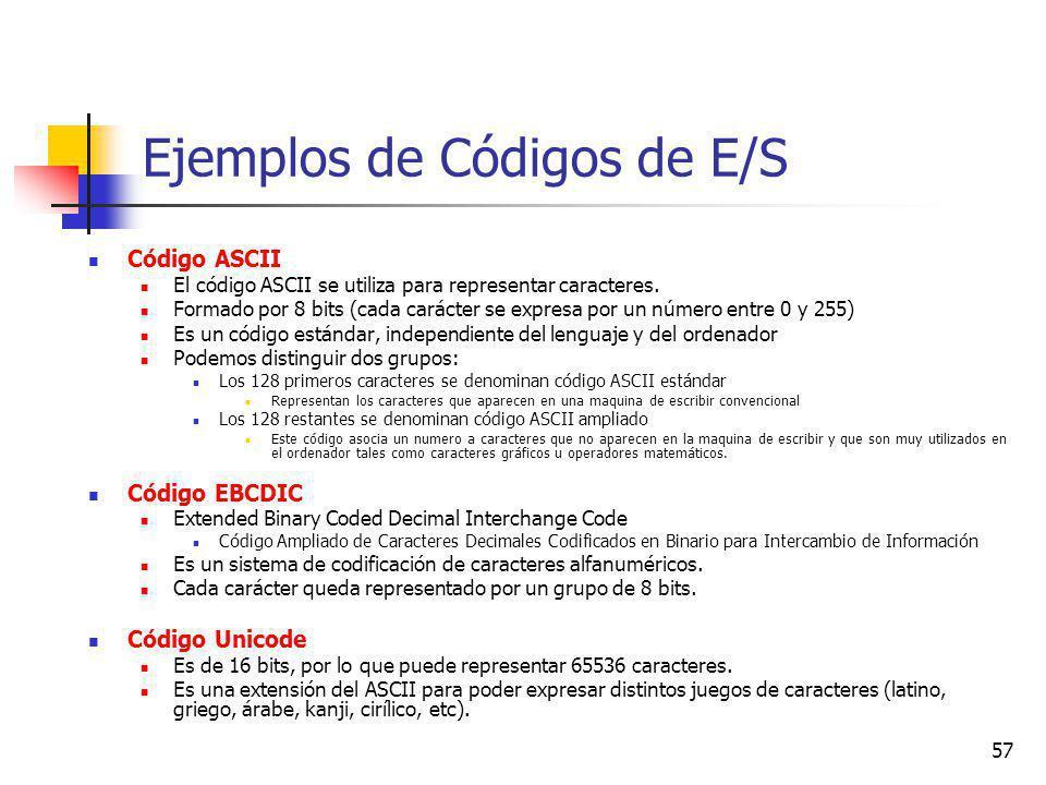 57 Ejemplos de Códigos de E/S Código ASCII El código ASCII se utiliza para representar caracteres.