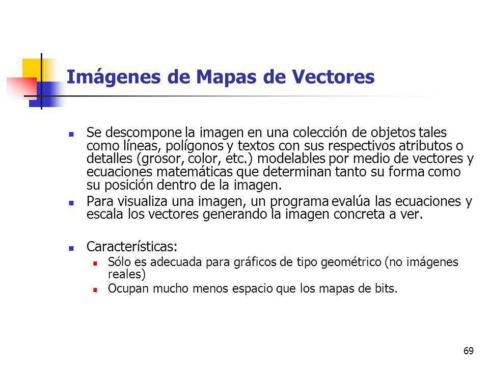 69 Imágenes de Mapas de Vectores Se descompone la imagen en una colección de objetos tales como líneas, polígonos y textos con sus respectivos atributos o detalles (grosor, color, etc.) modelables por medio de vectores y ecuaciones matemáticas que determinan tanto su forma como su posición dentro de la imagen.