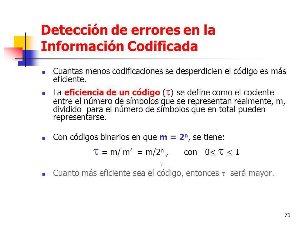 71 Detección de errores en la Información Codificada Cuantas menos codificaciones se desperdicien el código es más eficiente.