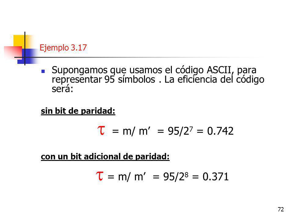 72 Ejemplo 3.17 Supongamos que usamos el código ASCII, para representar 95 símbolos.