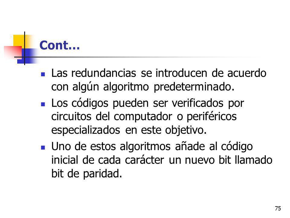 75 Cont… Las redundancias se introducen de acuerdo con algún algoritmo predeterminado.