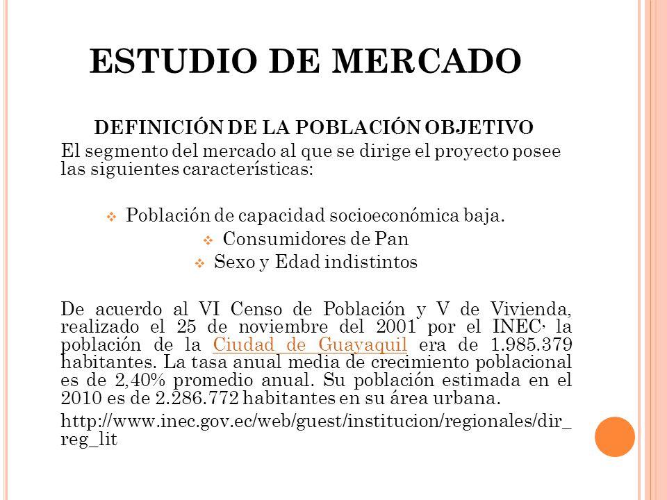 ESTUDIO DE MERCADO DEFINICIÓN DE LA POBLACIÓN OBJETIVO El segmento del mercado al que se dirige el proyecto posee las siguientes características: Pobl