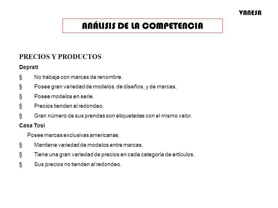 PRECIOS Y PRODUCTOS Deprati No trabaja con marcas de renombre. Posee gran variedad de modelos, de diseños, y de marcas. Posee modelos en serie. Precio
