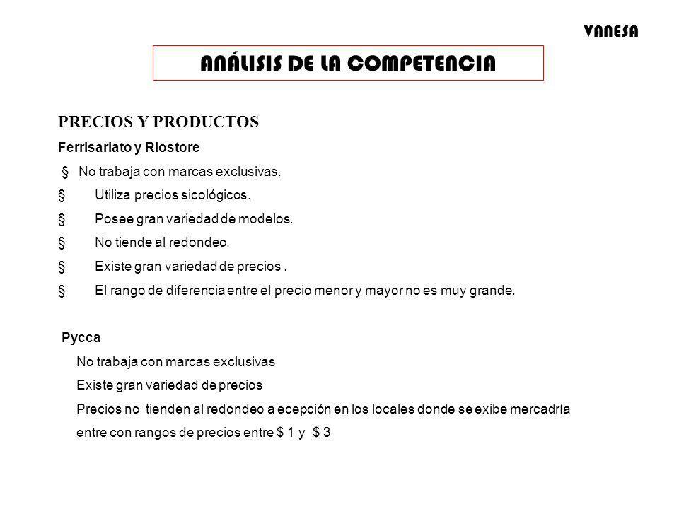 PRECIOS Y PRODUCTOS Ferrisariato y Riostore No trabaja con marcas exclusivas. Utiliza precios sicológicos. Posee gran variedad de modelos. No tiende a