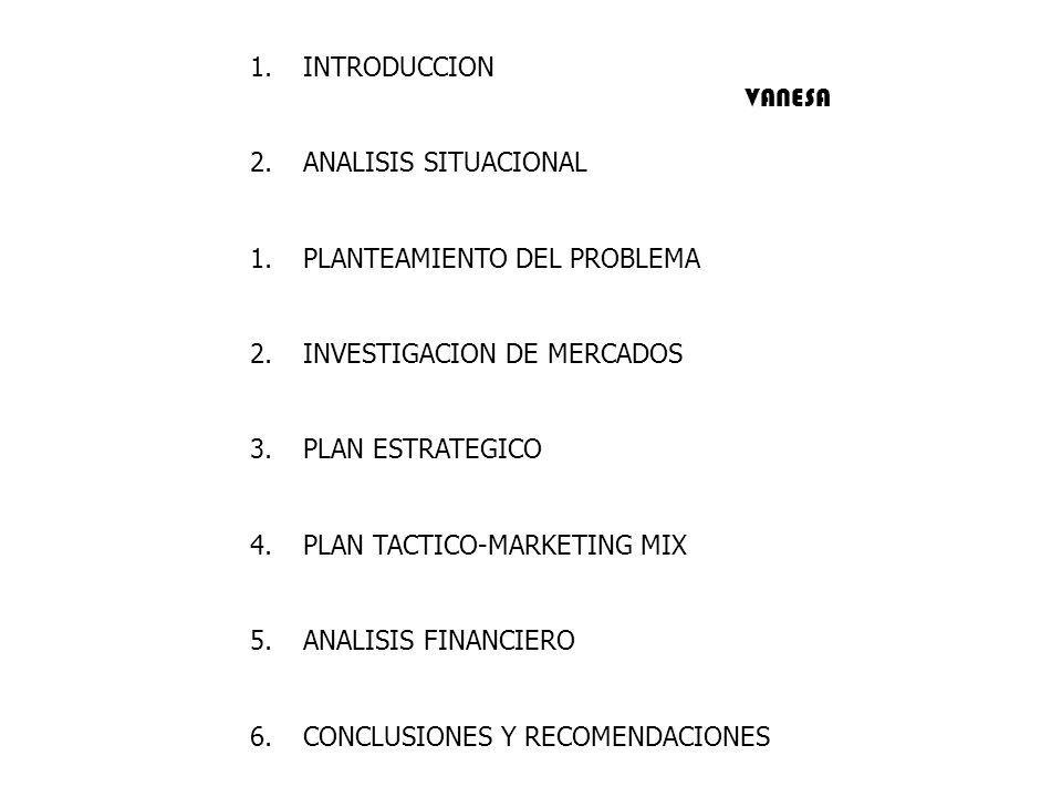 1.INTRODUCCION 2.ANALISIS SITUACIONAL 1.PLANTEAMIENTO DEL PROBLEMA 2.INVESTIGACION DE MERCADOS 3.PLAN ESTRATEGICO 4.PLAN TACTICO-MARKETING MIX 5.ANALI