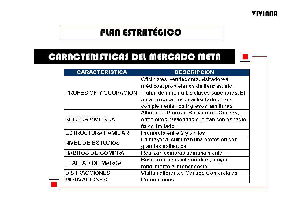 PLAN ESTRATÉGICO CARACTERISTICAS DEL MERCADO META VIVIANA