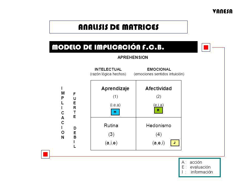 ANALISIS DE MATRICES MODELO DE IMPLICACIÓN F.C.B. APREHENSION IMPLICACIONIMPLICACION DEBILDEBIL A : acción E : evaluación I : información J H R INTELE