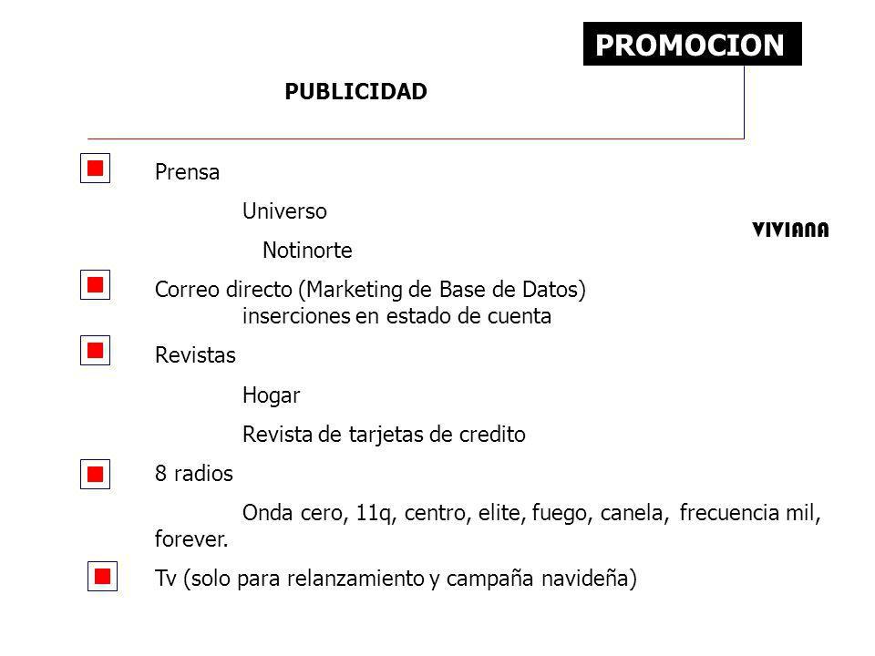 PROMOCION PUBLICIDAD Prensa Universo Notinorte Correo directo (Marketing de Base de Datos) inserciones en estado de cuenta Revistas Hogar Revista de t