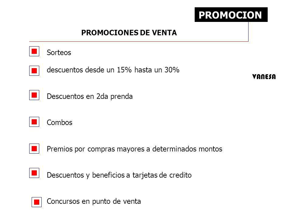 PROMOCION Sorteos descuentos desde un 15% hasta un 30% Descuentos en 2da prenda Combos Premios por compras mayores a determinados montos Descuentos y