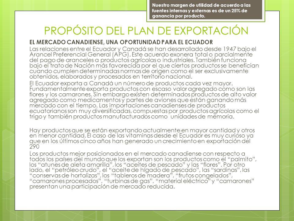 PROPÓSITO DEL PLAN DE EXPORTACIÓN EL MERCADO CANADIENSE, UNA OPORTUNIDAD PARA EL ECUADOR Las relaciones entre el Ecuador y Canadá se han desarrollado desde 1947 bajo el Arancel Preferencial General (APG).