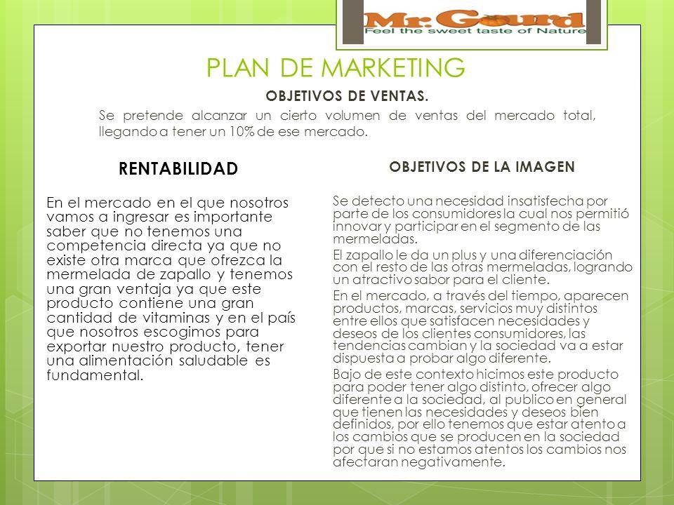 PLAN DE MARKETING OBJETIVOS DE VENTAS.