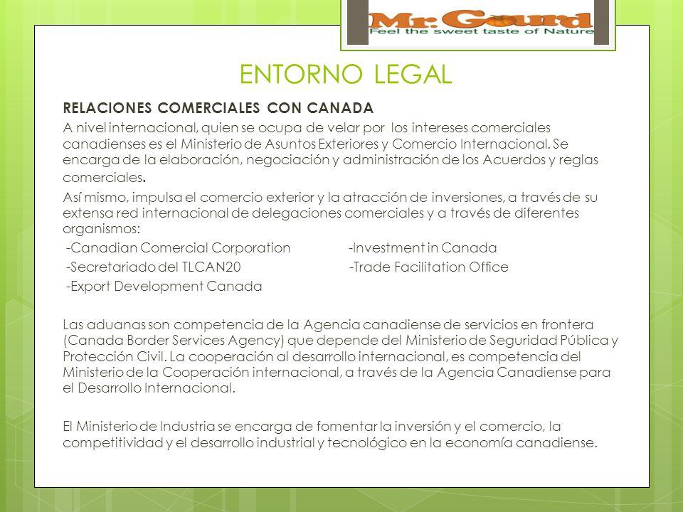 ENTORNO LEGAL RELACIONES COMERCIALES CON CANADA A nivel internacional, quien se ocupa de velar por los intereses comerciales canadienses es el Ministerio de Asuntos Exteriores y Comercio Internacional.