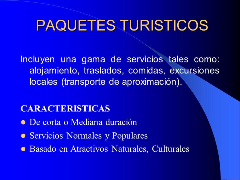 PAQUETES TURISTICOS Incluyen una gama de servicios tales como: alojamiento, traslados, comidas, excursiones locales (transporte de aproximación).