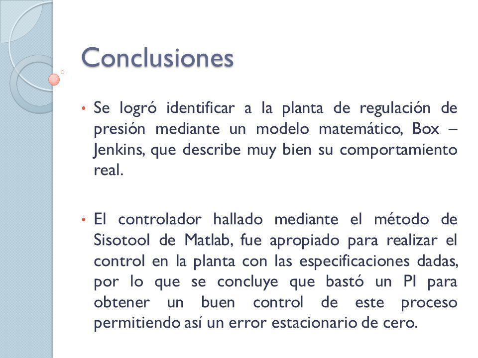 Conclusiones Se logró identificar a la planta de regulación de presión mediante un modelo matemático, Box – Jenkins, que describe muy bien su comporta