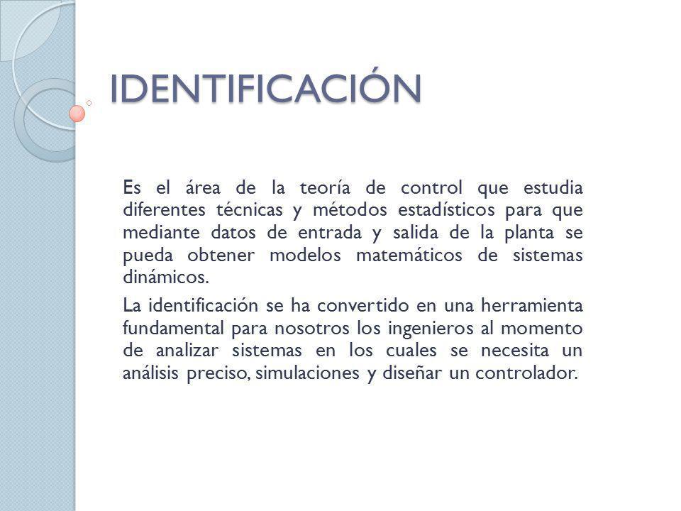 IDENTIFICACIÓN Es el área de la teoría de control que estudia diferentes técnicas y métodos estadísticos para que mediante datos de entrada y salida d