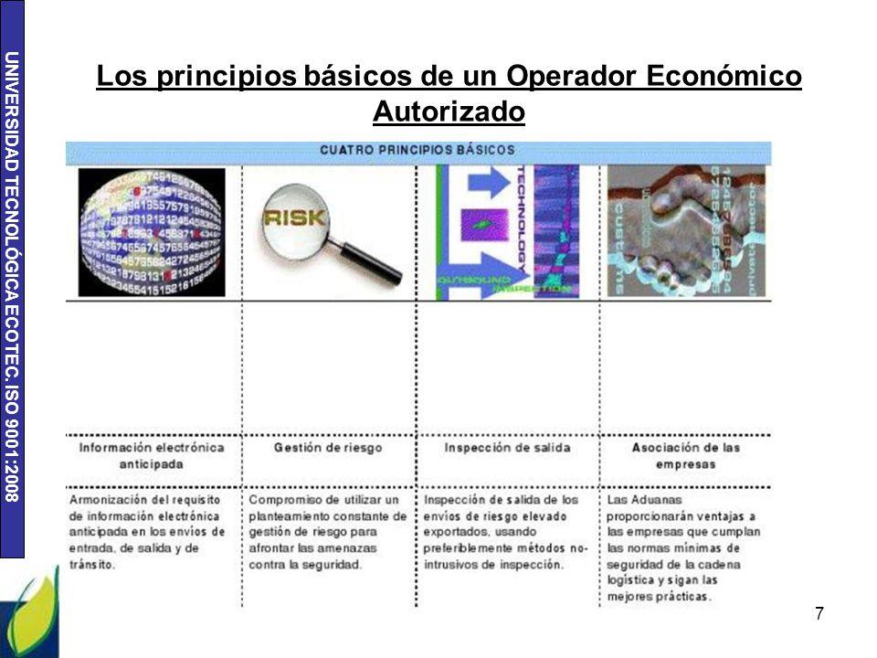 UNIVERSIDAD TECNOLÓGICA ECOTEC. ISO 9001:2008 Los principios básicos de un Operador Económico Autorizado 7