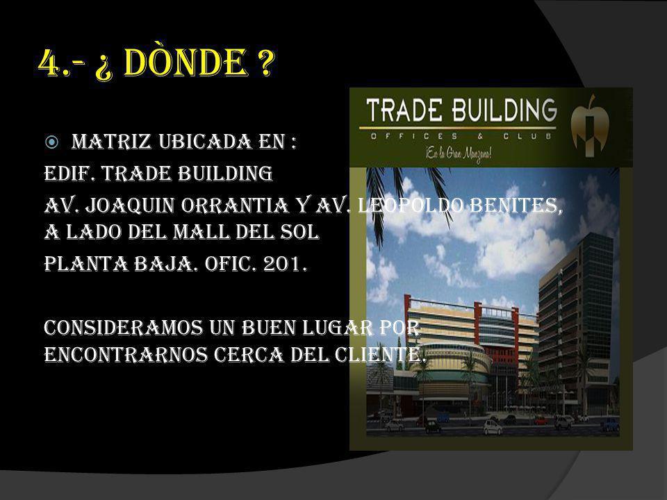 4.- ¿ DÒNDE ? Matriz ubicada en : Edif. Trade Building Av. Joaquin Orrantia y Av. Leopoldo Benites, a lado del Mall del Sol Planta baja. Ofic. 201. Co