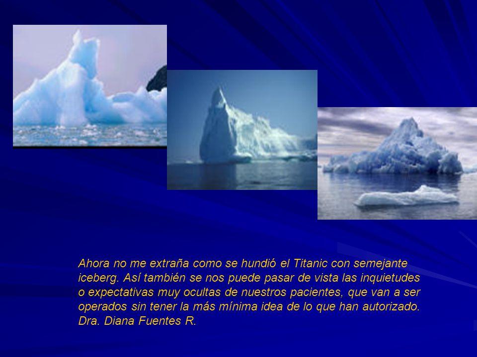 Ahora no me extraña como se hundió el Titanic con semejante iceberg. Así también se nos puede pasar de vista las inquietudes o expectativas muy oculta