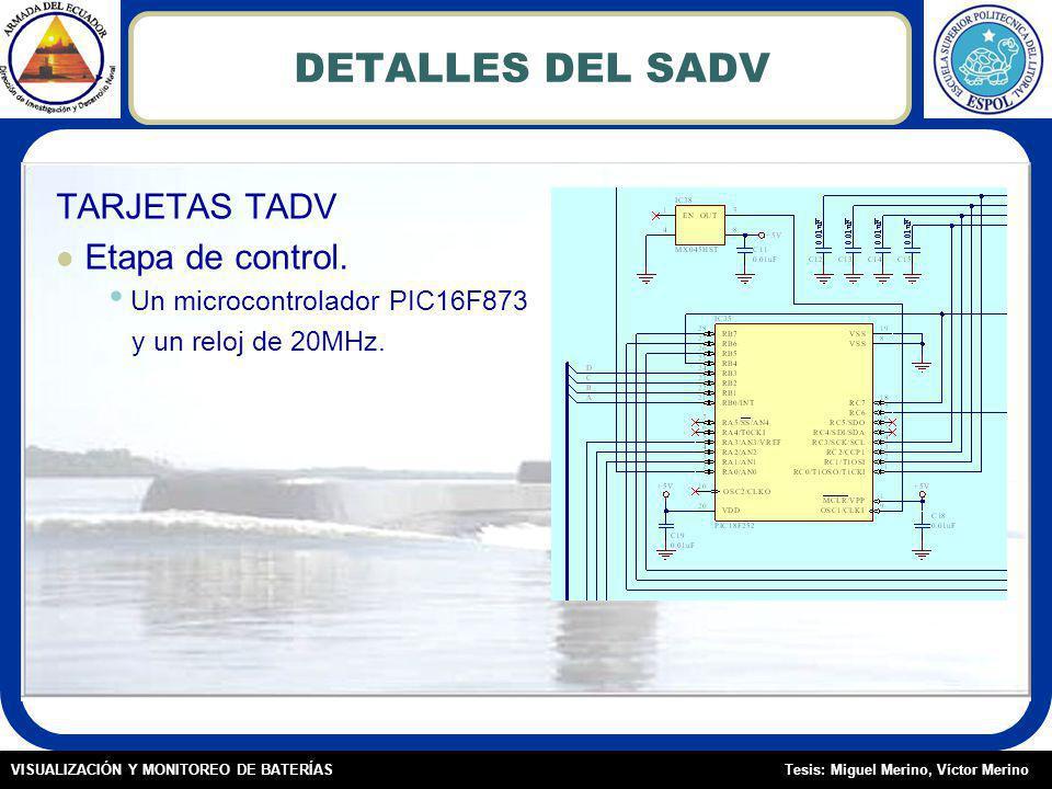 Tesis: Miguel Merino, Víctor MerinoVISUALIZACIÓN Y MONITOREO DE BATERÍAS DETALLES DEL SADV TARJETAS TADV Etapa de control.
