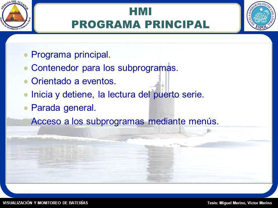 Tesis: Miguel Merino, Víctor MerinoVISUALIZACIÓN Y MONITOREO DE BATERÍAS HMI PROGRAMA PRINCIPAL Programa principal.