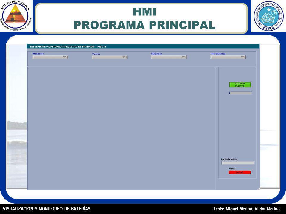 Tesis: Miguel Merino, Víctor MerinoVISUALIZACIÓN Y MONITOREO DE BATERÍAS HMI PROGRAMA PRINCIPAL