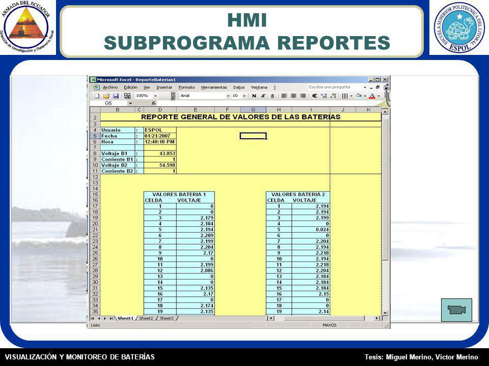 Tesis: Miguel Merino, Víctor MerinoVISUALIZACIÓN Y MONITOREO DE BATERÍAS HMI SUBPROGRAMA REPORTES