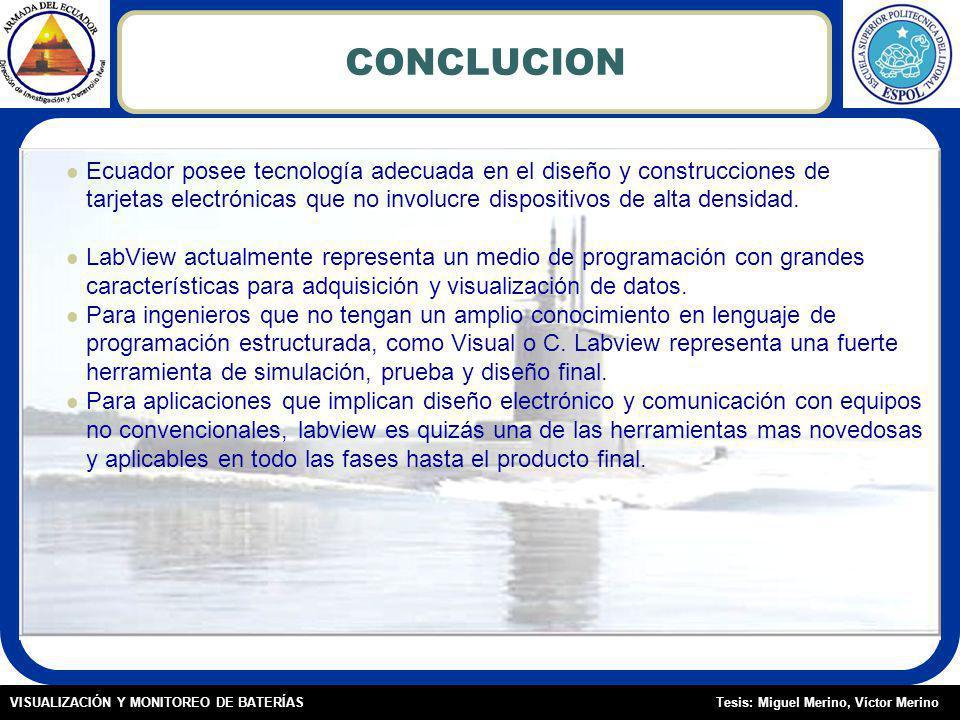 Tesis: Miguel Merino, Víctor MerinoVISUALIZACIÓN Y MONITOREO DE BATERÍAS CONCLUCION Ecuador posee tecnología adecuada en el diseño y construcciones de tarjetas electrónicas que no involucre dispositivos de alta densidad.