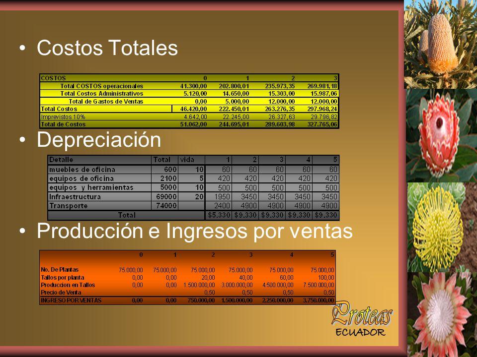 Costos Totales Depreciación Producción e Ingresos por ventas