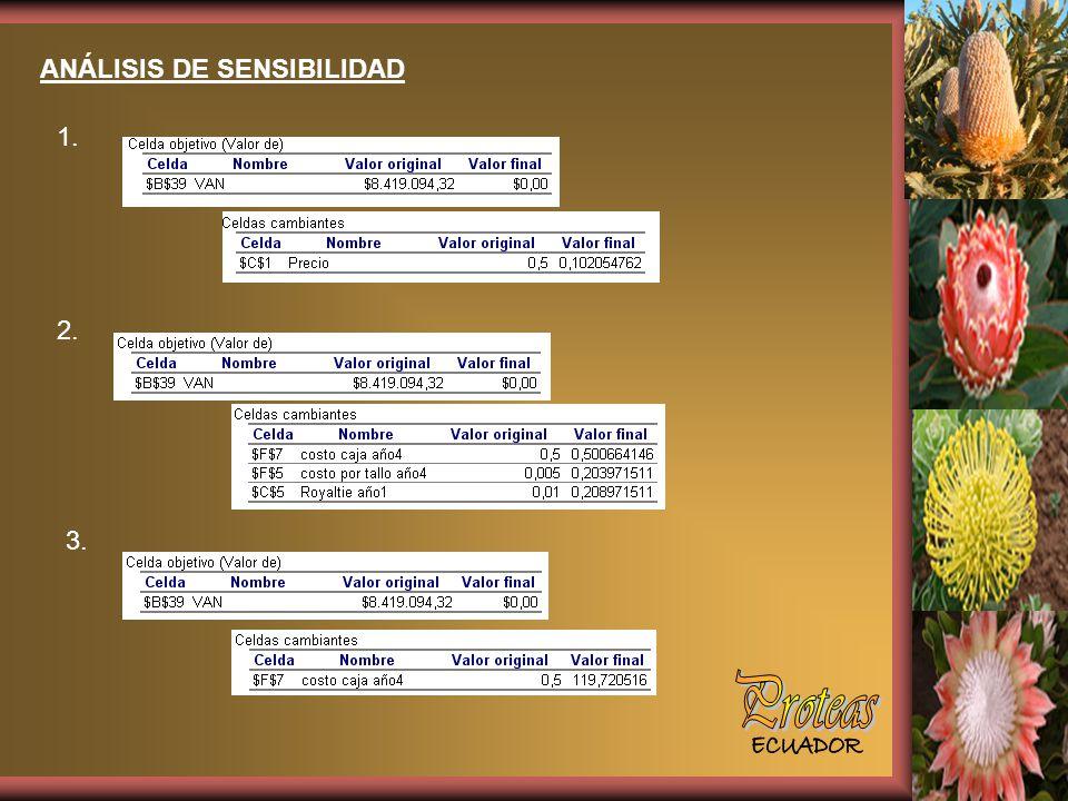 ANÁLISIS DE SENSIBILIDAD 1. 3. 2.