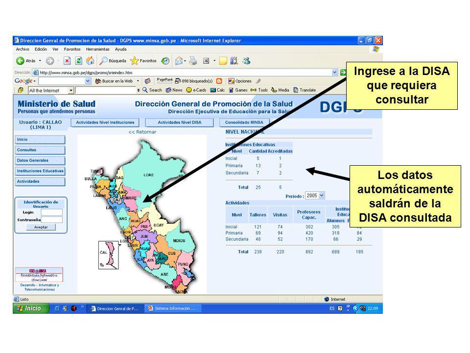 Ingrese a la DISA que requiera consultar Los datos automáticamente saldrán de la DISA consultada