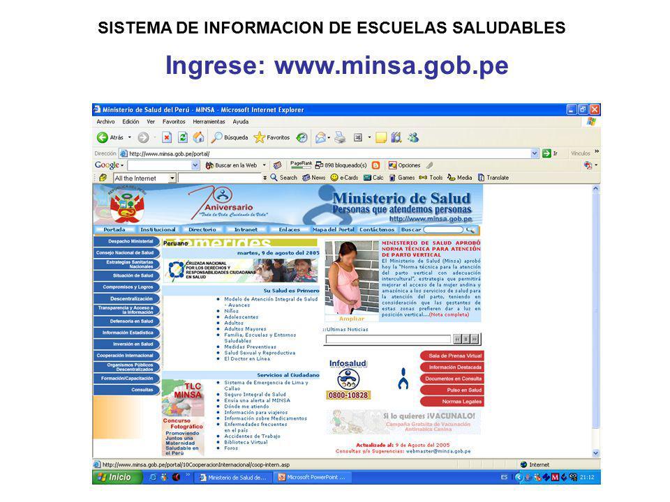 SISTEMA DE INFORMACION DE ESCUELAS SALUDABLES Ingrese: www.minsa.gob.pe