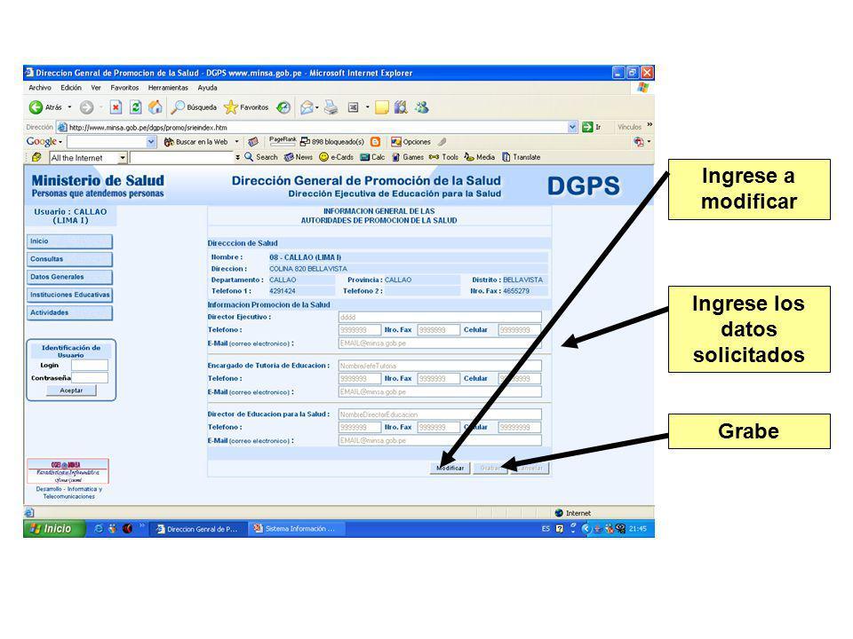 Ingrese a modificar Ingrese los datos solicitados Grabe