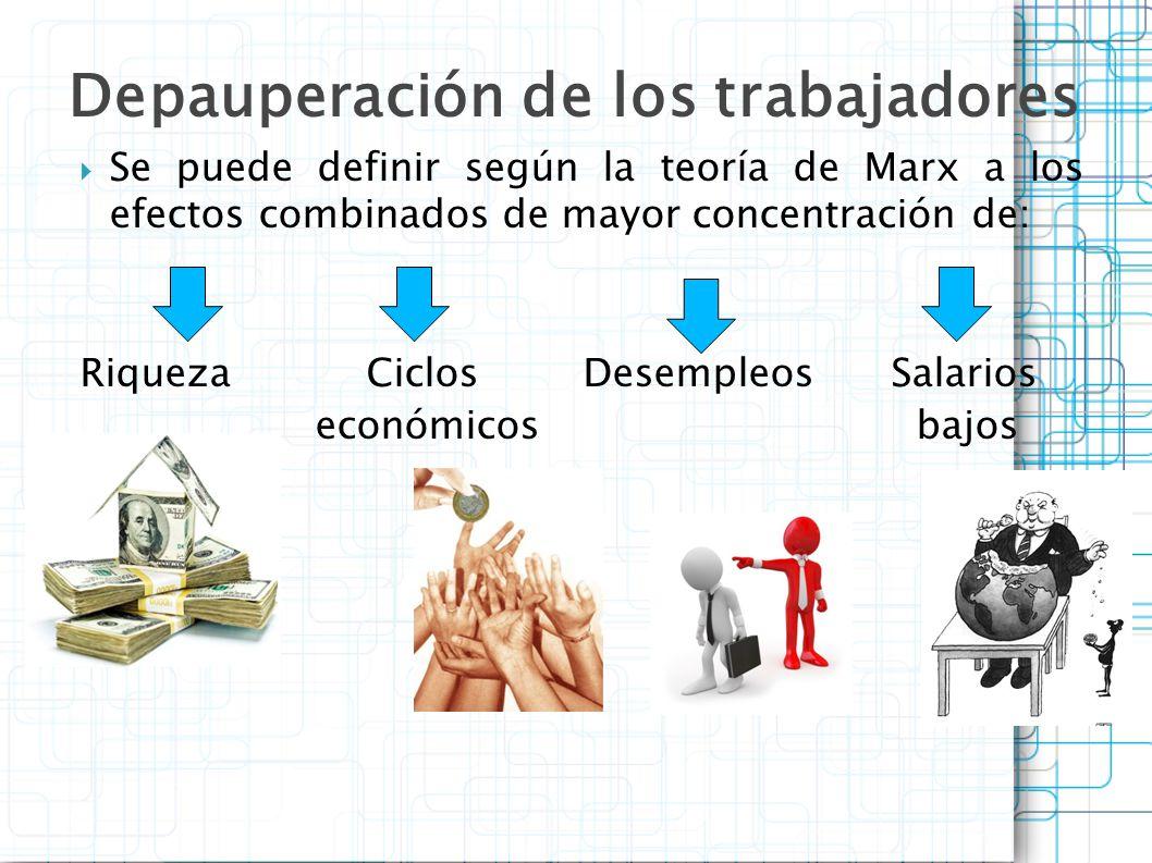 Se puede definir según la teoría de Marx a los efectos combinados de mayor concentración de: RiquezaCiclos Desempleos Salarios económicos bajos Depaup