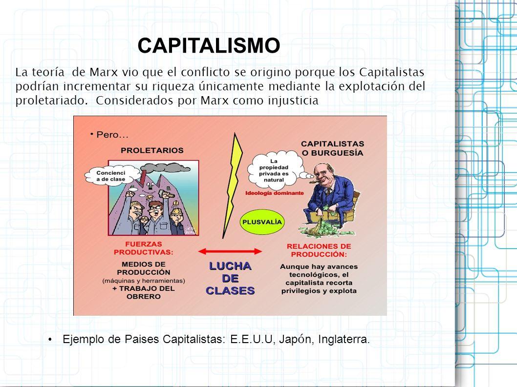 La teoría de Marx vio que el conflicto se origino porque los Capitalistas podrían incrementar su riqueza únicamente mediante la explotación del prolet