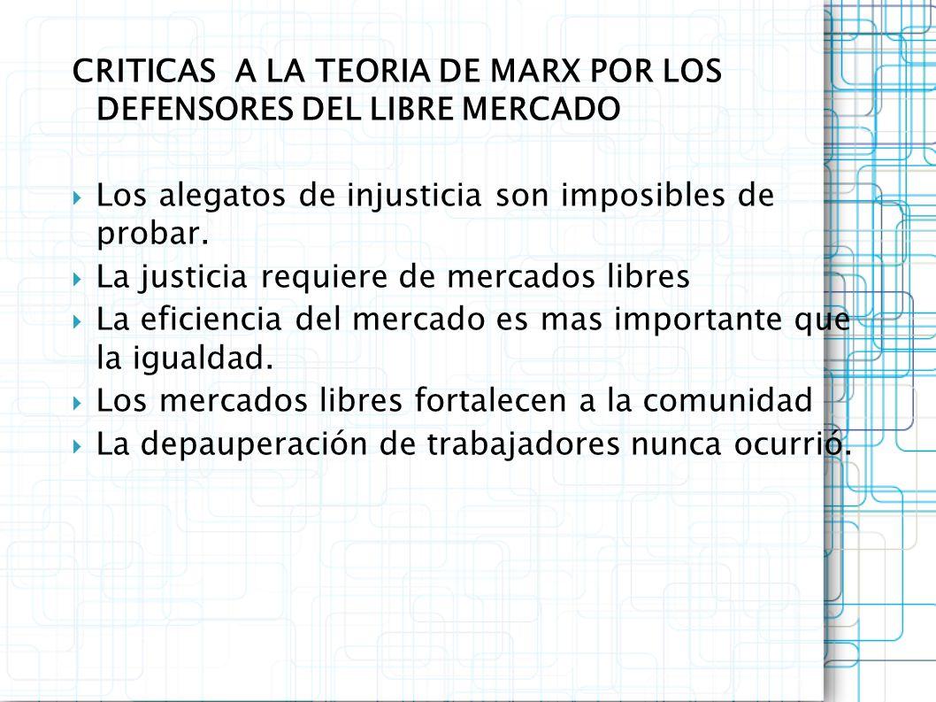 CRITICAS A LA TEORIA DE MARX POR LOS DEFENSORES DEL LIBRE MERCADO Los alegatos de injusticia son imposibles de probar. La justicia requiere de mercado
