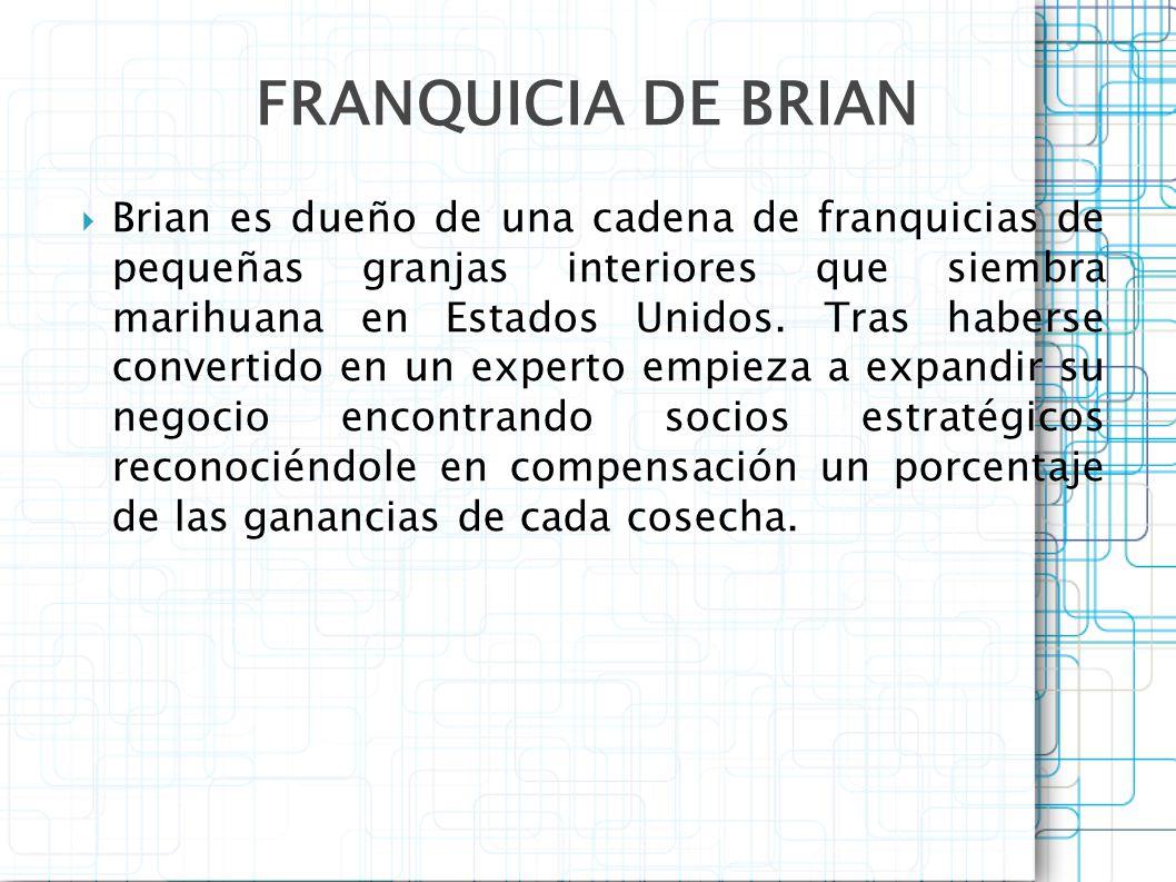 Brian es dueño de una cadena de franquicias de pequeñas granjas interiores que siembra marihuana en Estados Unidos. Tras haberse convertido en un expe