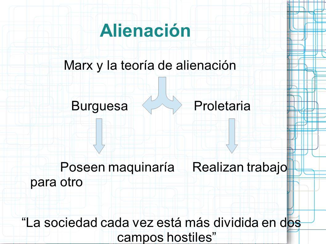 Alienación Marx y la teoría de alienación Burguesa Proletaria Poseen maquinaría Realizan trabajo para otro La sociedad cada vez está más dividida en d