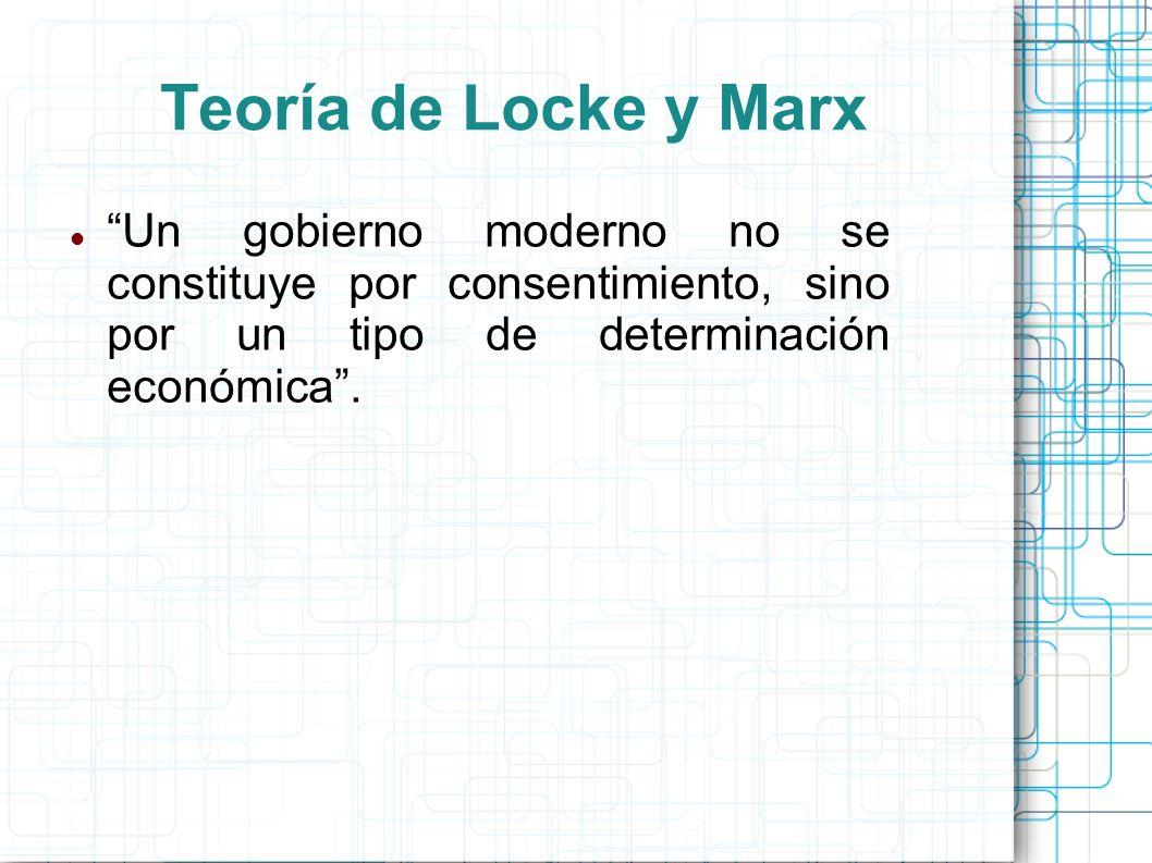Teoría de Locke y Marx Un gobierno moderno no se constituye por consentimiento, sino por un tipo de determinación económica.