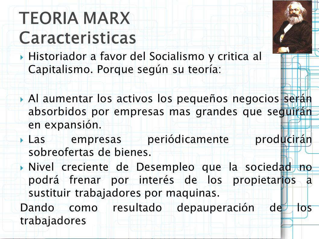 Historiador a favor del Socialismo y critica al Capitalismo. Porque según su teoría: Al aumentar los activos los pequeños negocios serán absorbidos po