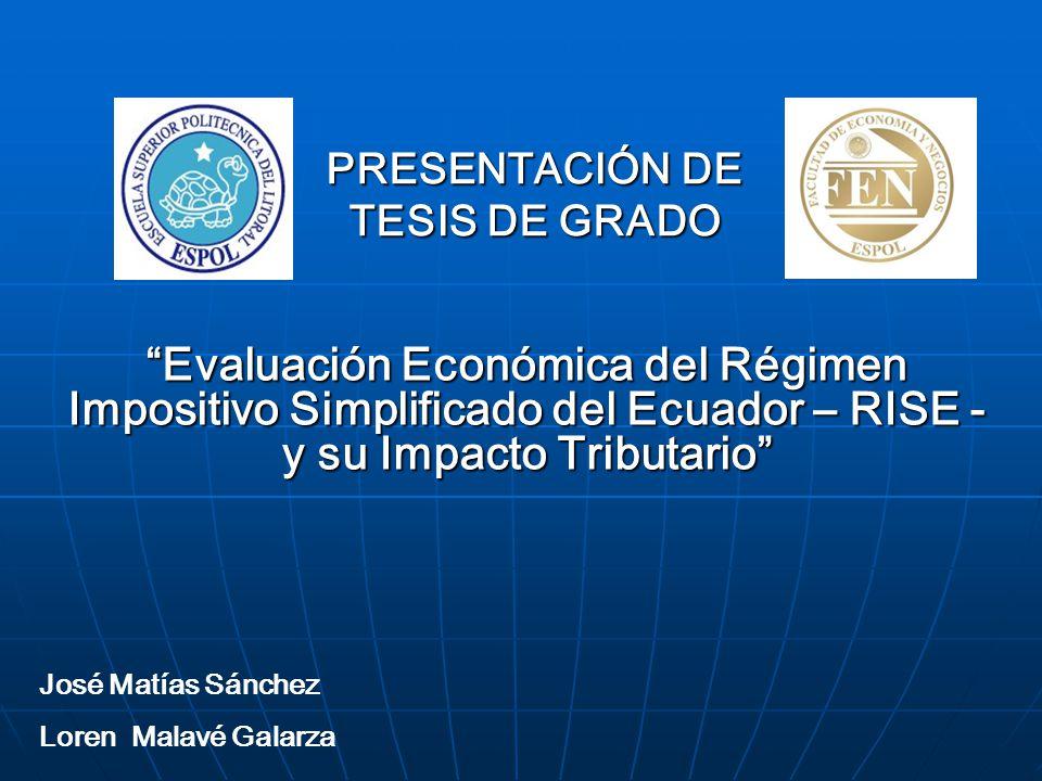 PRESENTACIÓN DE TESIS DE GRADO Evaluación Económica del Régimen Impositivo Simplificado del Ecuador – RISE - y su Impacto TributarioEvaluación Económi