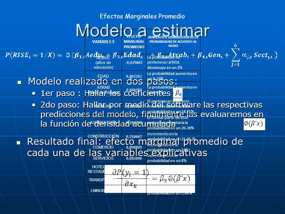 Modelo a estimar Modelo realizado en dos pasos: Modelo realizado en dos pasos: 1er paso : Hallar los coeficientes1er paso : Hallar los coeficientes 2d