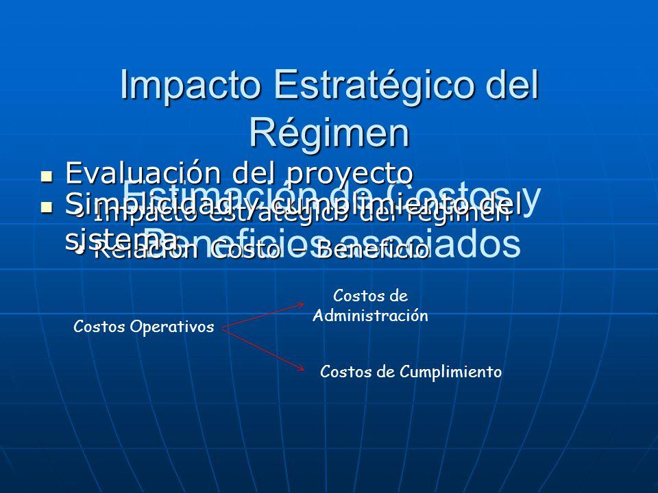 Estimación de Costos y Beneficios asociados Evaluación del proyecto Evaluación del proyecto Impacto estratégico del régimenImpacto estratégico del rég