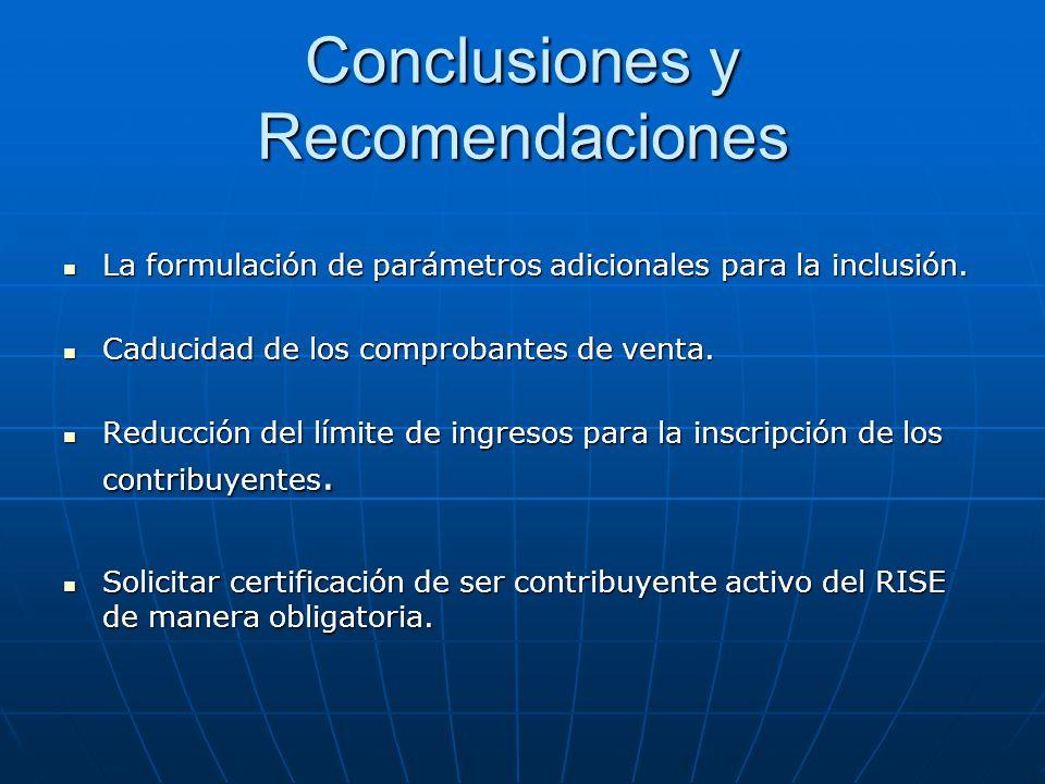 La formulación de parámetros adicionales para la inclusión. La formulación de parámetros adicionales para la inclusión. Caducidad de los comprobantes