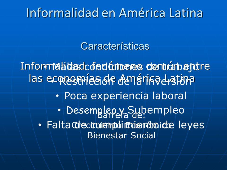 Informalidad en América Latina Informalidad fenómeno común entre las economías de América Latina Barrera de: Crecimiento Económico Bienestar Social Ca