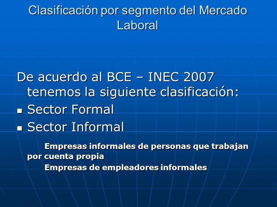 Clasificación por segmento del Mercado Laboral De acuerdo al BCE – INEC 2007 tenemos la siguiente clasificación: Sector Formal Sector Formal Sector In