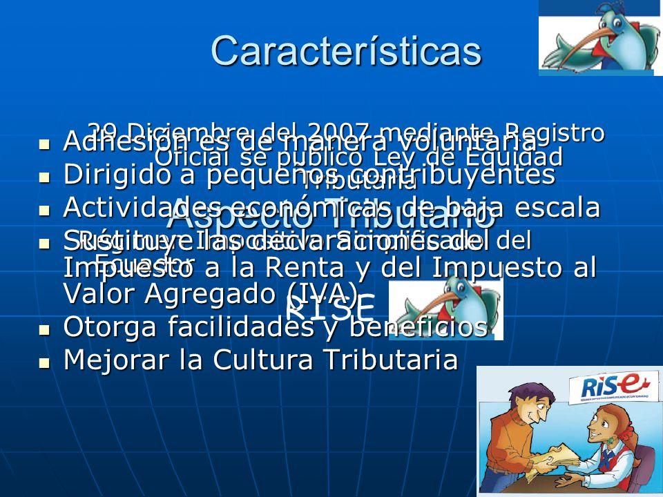 Aspecto Tributario 29 Diciembre del 2007 mediante Registro Oficial se publicó Ley de Equidad Tributaria Régimen Impositivo Simplificado del Ecuador Ré