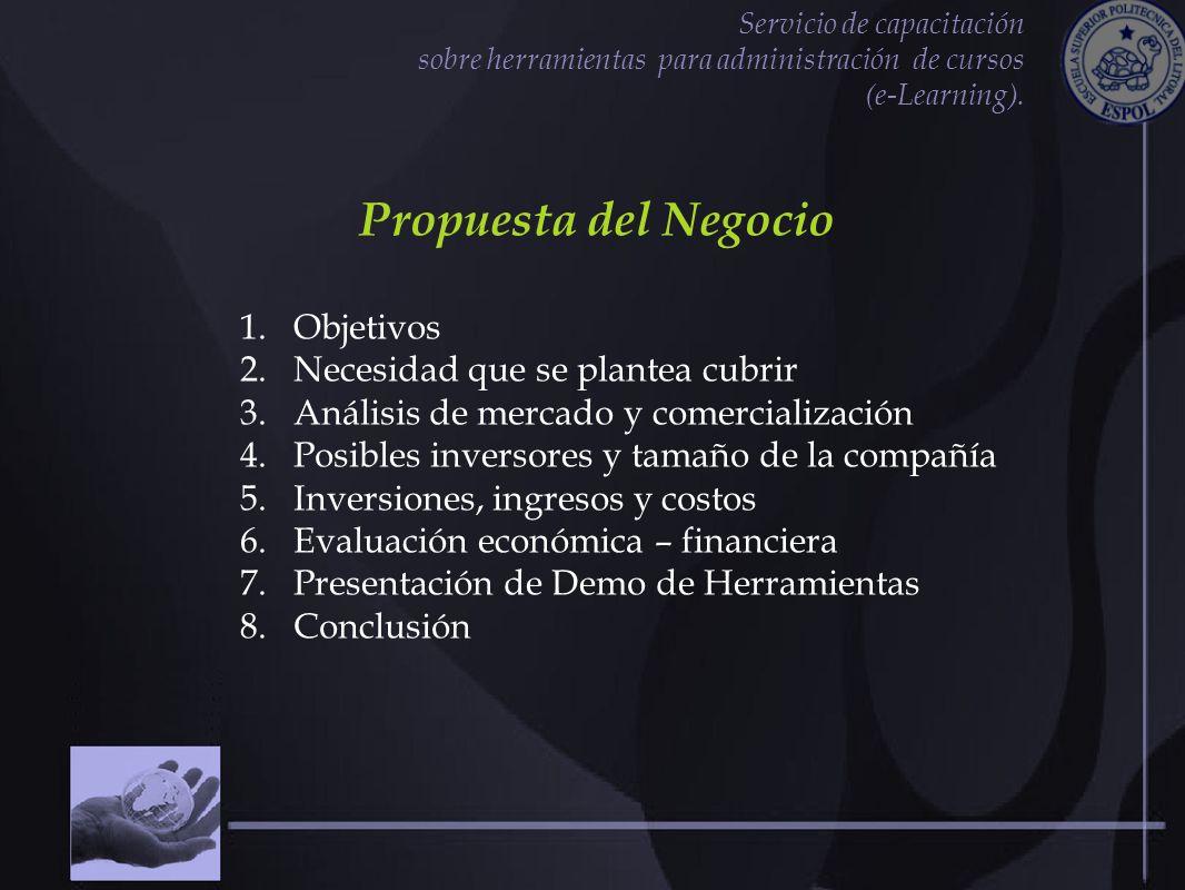 Servicio de capacitación sobre herramientas para administración de cursos (e-Learning). Propuesta del Negocio 1.Objetivos 2.Necesidad que se plantea c